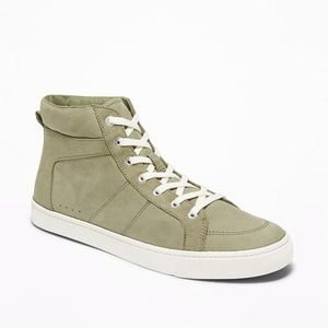NWT Faux Suede Olive Green High Top